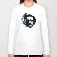 edgar allan poe Long Sleeve T-shirts featuring Edgar Allan Poe Crows by Ludwig Van Bacon