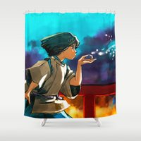 alicexz Shower Curtains featuring The Dragon Boy by Alice X. Zhang