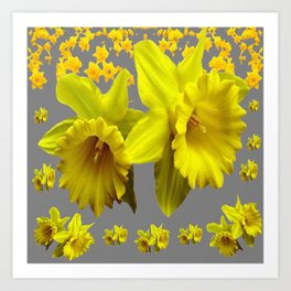 YELLOW DAFFODILS CHARCOAL GREY FLORAL Art Print