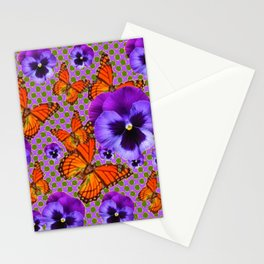 PURPLE PANSIES MONARCH BUTTERFLIES OPTIC PATTERN Stationery Cards