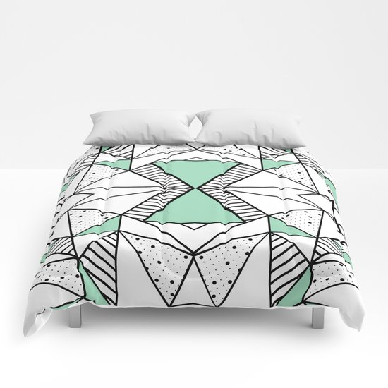 Ab Lines and Spots Mint Comforters