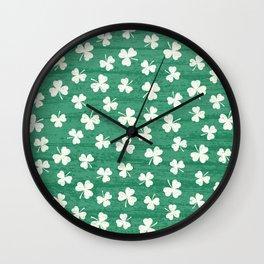 DANCING SHAMROCKS on green Wall Clock