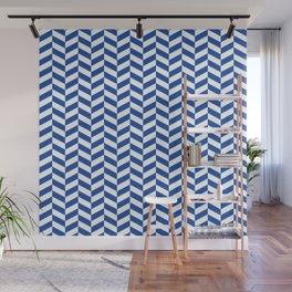 Cobalt Blue Herringbone Pattern Design Wall Mural