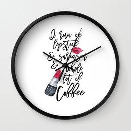 Lipstick Print,But First Lipstick,Glamour Decor,Makeup Wall Art,Makeup Poster,Girls Room Art Wall Clock