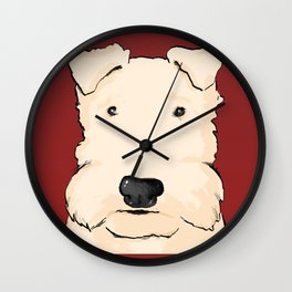 Terrier portrait red Wall Clock