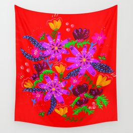 Orange Violets Wall Tapestry