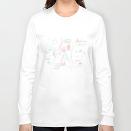 Austin, Texas Illustrated Calligraphy Map Long Sleeve T-shirt