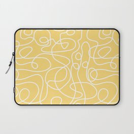 Doodle Line Art | White Lines on Custard Yellow Laptop Sleeve