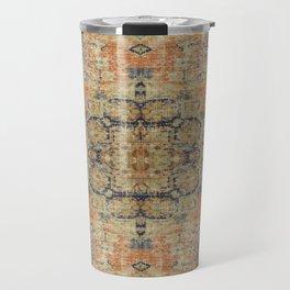 Vintage Woven Coral and Blue Travel Mug