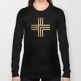 Geometric Swiss Cross (gold) Long Sleeve T-shirt