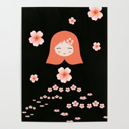Russian Matryoshka Doll Girl Deconstructed with Flowers Poster