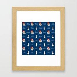 Santa and Snowman Framed Art Print