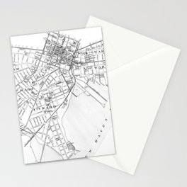 Vintage Map of New Haven Connecticut (1893) BW Stationery Cards