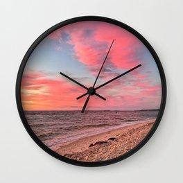 Pink Sunset Sky at the Beach Wall Clock