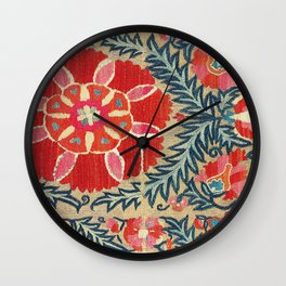 18th Century Suzani Fragment Print Wall Clock