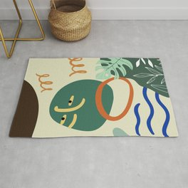 Minimal Contemporary Wall Art Affiche de formes abstraites Leaf Face Art Print Rug