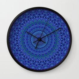 Blue Floral Ornate Mandala Wall Clock
