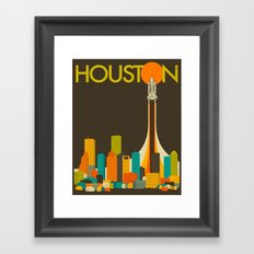 HOUSTON TRAVEL POSTER Framed Art Print