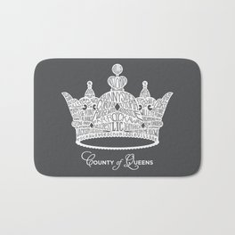 County of Queens | NYC Borough Crown (WHITE) Bath Mat
