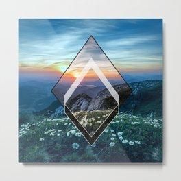 Sunset Mountain Geometry Metal Print