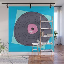 Abstract funny digital art of a vintage record on blue background Wall Mural
