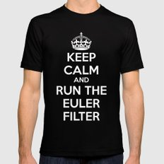 Keep Calm and Run the Euler Filter MEDIUM Black Mens Fitted Tee