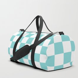 Gingham Duck Egg Blue Checked Pattern Duffle Bag