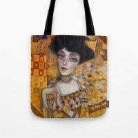 klimt Tote Bags featuring klimt by Antonio Lorente