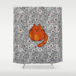 Cute Ginger Cat - Stained glass and swirls Shower Curtain
