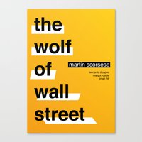 wolf of wall street Canvas Prints featuring The Wolf of Wall Street by Darrenhealey
