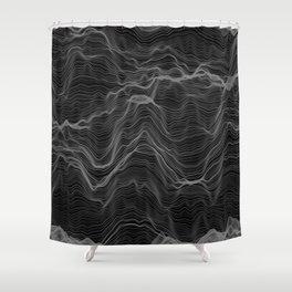 Soft Peaks Black Shower Curtain