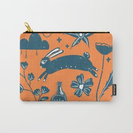 Prancing Rabbit - Orange Carry-All Pouch