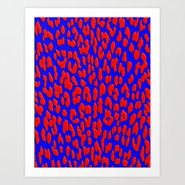 Bright Blue & Red Leopard Print Art Print