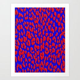 Bright Blue & Red Leopard Print Art Print