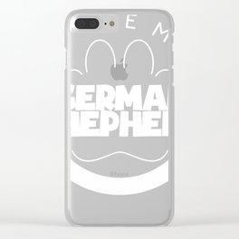 Funny German Shepherd Design I Love My German Shepherd Circle Paw Chunky Font Logo Clear iPhone Case