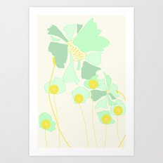 Minty Flowers Art Print