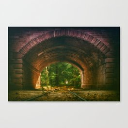 Railroad Track Through The Tunnel Canvas Print
