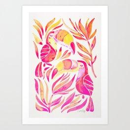 Tropical Toucans – Pink & Melon Ombré Art Print