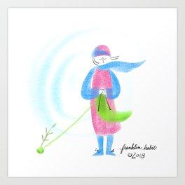 Spring Knitter Art Print