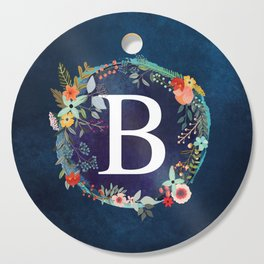 Personalized Monogram Initial Letter B Floral Wreath Artwork Cutting Board