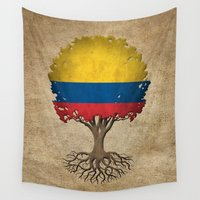 colombia Wall Tapestries featuring Vintage Tree of Life with Flag of Colombia by Jeff Bartels