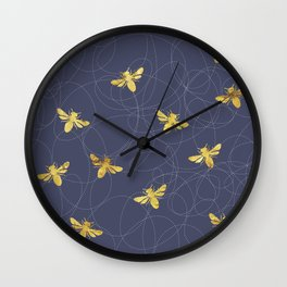 Flying Gold Bees On A Dark Blue Background Wall Clock