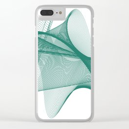 Overlapping Lines Abstract Pattern In Teal Clear iPhone Case