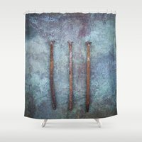 three of the possessed Shower Curtains featuring Three by Maria Heyens