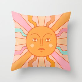 Boho Sun Pink Aesthetic Throw Pillow