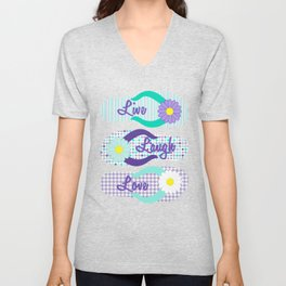 Live - Laugh - Love in Turquoise & Purple Unisex V-Neck