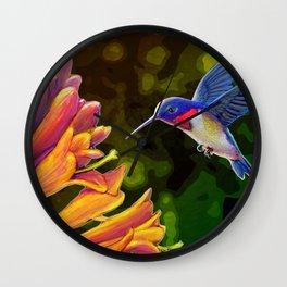 Hummingbird and Honeysuckle Wall Clock