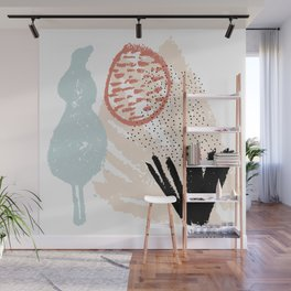 Hand drawn vector card or poster. Pastel brushstrokes Wall Mural