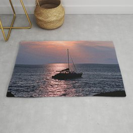 Tropical Sailboat In Pink Coral and Azure Sunset Rug
