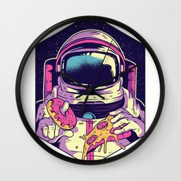 Hungry Astronaut Eating Donuts and Pizza Wall Clock